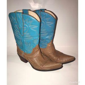 Nordstroms Women's Cowboy Boots Tan Turquoise 8